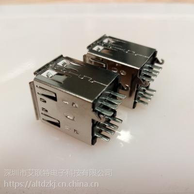 USB双层 180度 USB AF 双层母座 180度 焊线式母座 带卡勾
