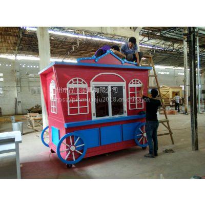 工厂专业定做钢木售货车 实用广场售卖亭 景区流动售货车
