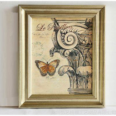 装饰画批发 欧美挂画 现代客厅组合三联画 有框 花鸟蝴蝶壁画 现代装饰画