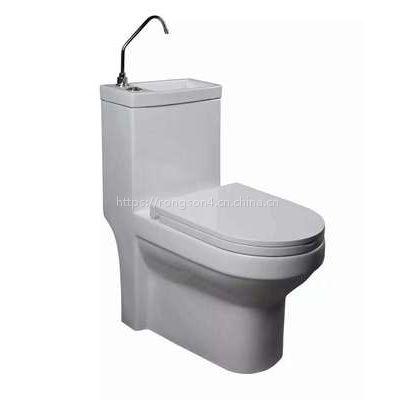 新款节水陶瓷马桶自带洗手盆一体卫生间座便器