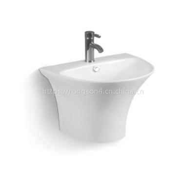 浴室陶瓷出口一体式圆形个性简约欧式挂墙洗手盆