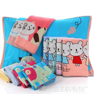 高阳枕巾厂家直销纯棉全棉加厚六层纱布儿童成人情侣通用枕巾正品