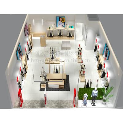欧式服装店展示柜 女装专卖店道具 木质烤漆服装店衣柜厂家定制