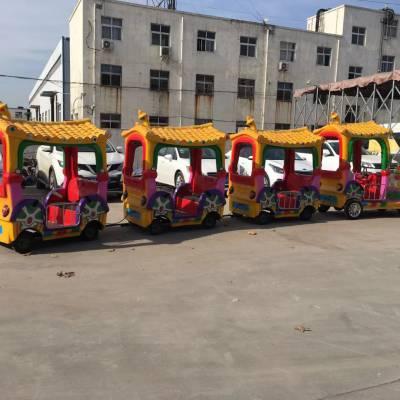 广场儿童代步工具,炫彩瓦片无轨火车,12座电瓶观光无轨小火车