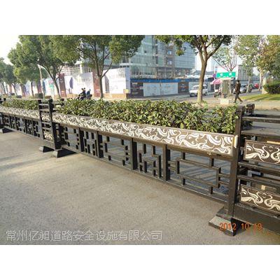 广告板护栏,花箱护栏,城市美化隔离护栏,花式文化锌钢白色喷涂护栏,福建发光体水泥底座护栏