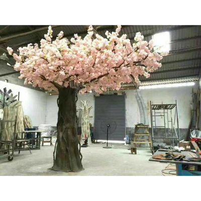 厂家供应仿真植物大树 塑料桃花树 pe玻璃钢材质人造景观工程装饰