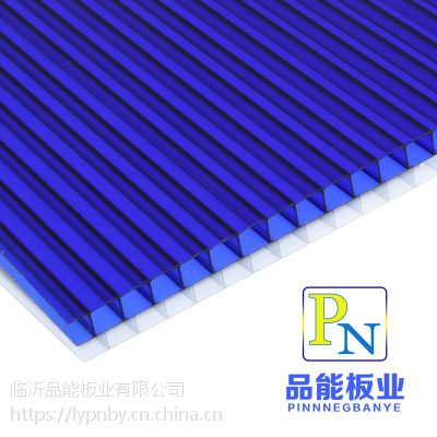 山东济宁鱼台厂家直销pc双层四层防阻燃紫外线12mm透明湖蓝阳光板
