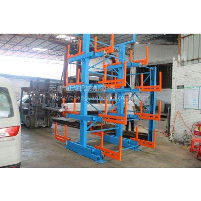 悬臂式货架结构 首创伸缩管材架 双面悬臂货架 钢管存放架 6米 10米管材架