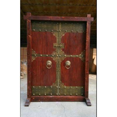 实木仿古大门厚板大型庭院门彩绘门神进户门古宅门别墅大门