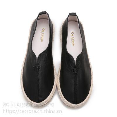 cecrose/斯科乐麻底头层牛皮渔夫懒人爸爸鞋情侣女单真皮休闲鞋男北京布鞋