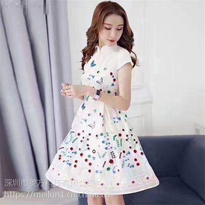 深圳服装厂 服装订做 中国风显瘦连衣裙批发 一件代发