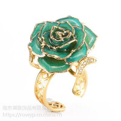 黛雅新品镀金玫瑰戒指天蓝色定制款手工制作厂家直销圣诞礼物