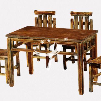 碳化防腐餐桌椅 饭店餐桌椅报价 全实木八仙桌长桌椅