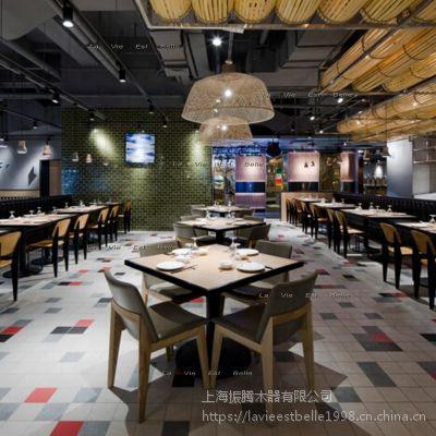 西餐厅实木餐桌椅西餐厅实木卡座沙发定做