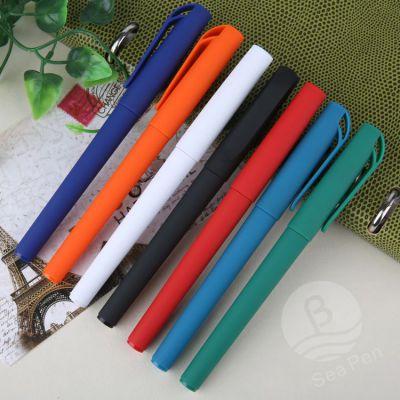 LOGO制作签字笔 商务黑色水笔 广告塑料中性笔订做 插套办公用笔厂家