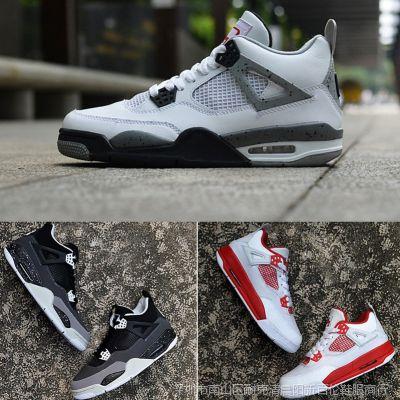莆田品牌AJ篮球鞋低帮女鞋4代男鞋运动鞋情侣鞋白红室内实战战靴