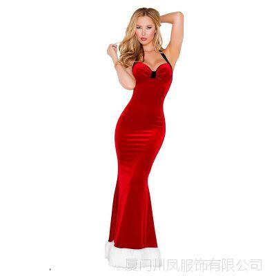 欧美外贸女式情趣内衣 成人圣诞节服装cosplay长裙制服LB20012