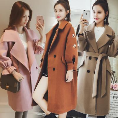 广州厂家年底清货女式毛呢外套便宜呢子大衣批发品牌尾货双面尼大衣清仓