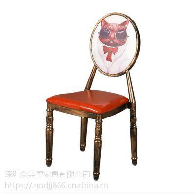 工业风金属铁椅子,贴木纹仿实木餐椅订做川湘菜馆饭店餐椅厂家供应