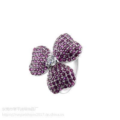 欧美风格环保铜三叶花女式戒指 时尚戒饰饰品厂家直销 可定制