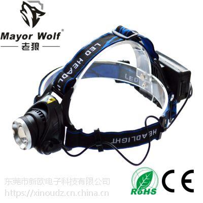 供应厂家批发 铝合金强光头灯 led充电头灯 户外照明打猎工矿钓鱼灯