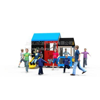 以伦游乐户外儿童PE板工程塑料组合滑梯,新款游乐设施,340*320*210cm幼儿园室内家具等