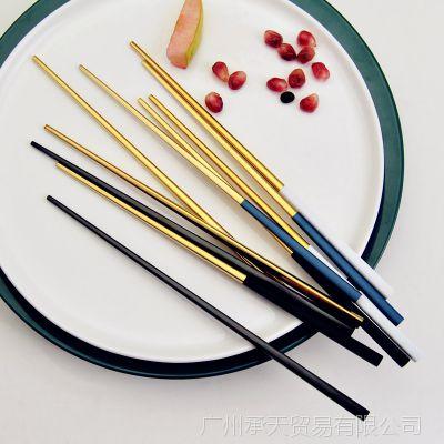 葡萄牙创意 镜面哑光 304不锈钢黑金筷子 方形防滑筷子 高档送礼