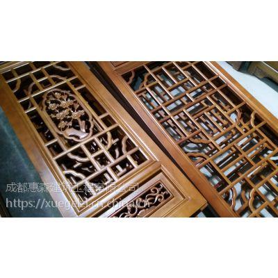 惠森提供仿古门窗、实木门窗雕花雕刻hsgj-100012仿古木门窗