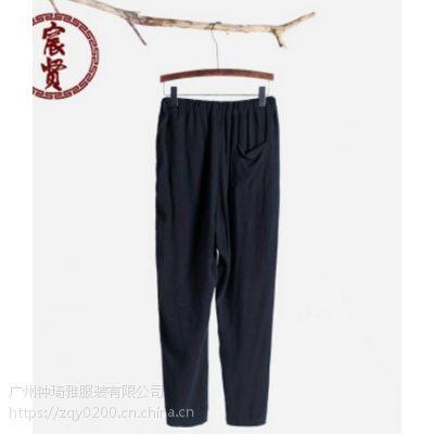 新款男装九分裤子中国风亚麻休闲裤时尚简约唐装男裤