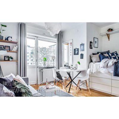 长沙家居装饰19m²单身公寓,加高床变收纳区