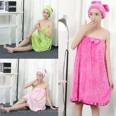 法兰绒抹胸浴裙套装活泼可爱女士针织睡衣