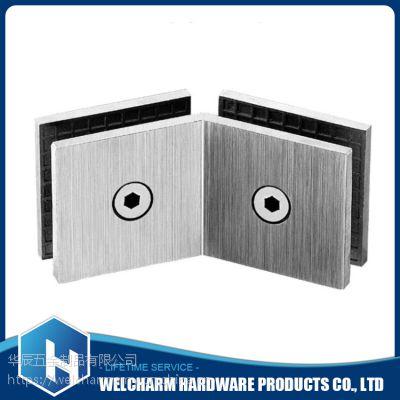 华辰五金玻璃方形隔断码135度双面HCB-F103耐用