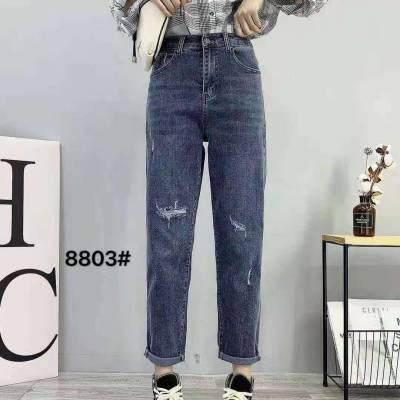 2018春季新款女式牛仔裤杂款尾货小脚裤批发高腰弹力修身牛仔裤特价清货