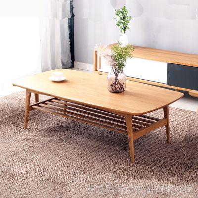 北欧白橡木实木双层茶几  时尚木质咖啡桌  储物茶桌