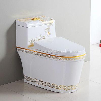 美观大气陶瓷一体式金色虹吸式彩色马桶座便器坐厕