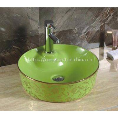 潮州陶瓷新款彩色欧式台上盆艺术洗脸盆洗手盆