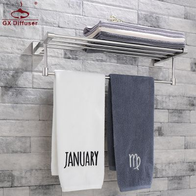 毛巾架浴巾架 壁挂式不锈钢304双层置物架多层抛光 卫生间酒店毛巾杆 GX-JG7904