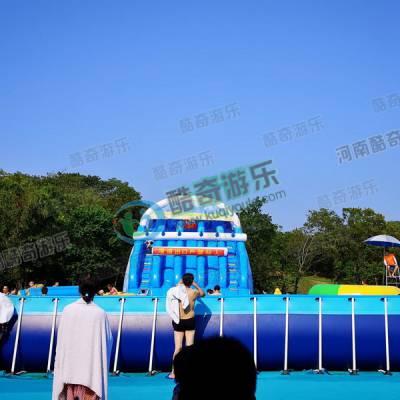 移动水上乐园 充气水上乐园鲨鱼水滑梯儿童充气游泳池价格
