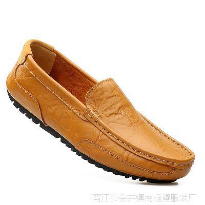 保罗 骆驼男鞋真皮休闲皮鞋男士夏季透气豆豆鞋牛皮软底驾车鞋子