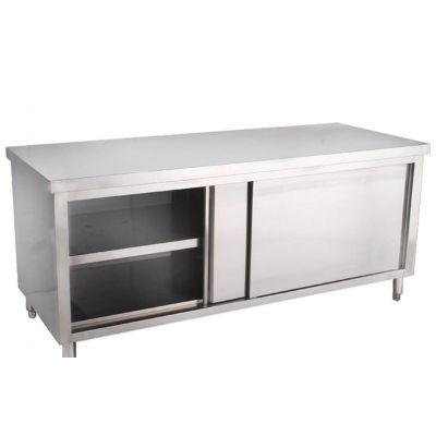 不锈钢单通打荷台/厨房不锈钢单向移门柜