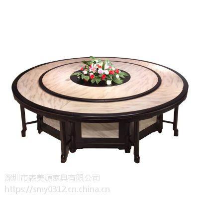 新现代中式电动餐桌实木酒店大圆桌 会所餐厅家具定制