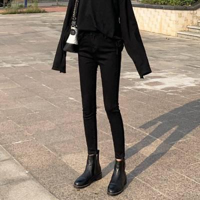 广州便宜牛仔裤批发韩版时尚女式牛仔裤高腰弹力小脚裤九分裤清货5元批发