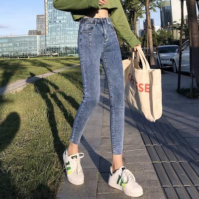 广州沙河的牛仔裤批发市场韩版女士小脚裤地摊货批发厂家尾货牛仔裤特价清仓