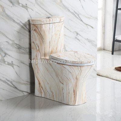 卫生间彩色卫浴陶瓷纹理连体马桶座便器