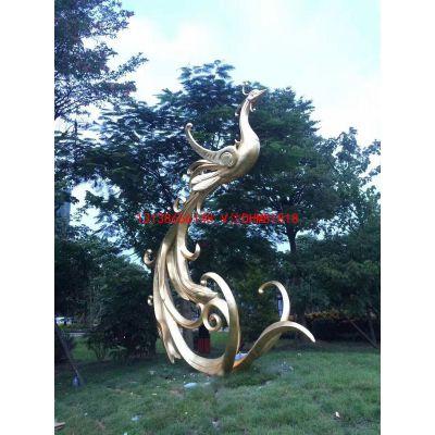 城市标志性雕塑不锈钢材质大型抽象凤凰造型雕塑丹鸟仿真火凤皇园林鶤鸡威鸟玻璃钢巨型凤皇金属铁艺雕塑摆件
