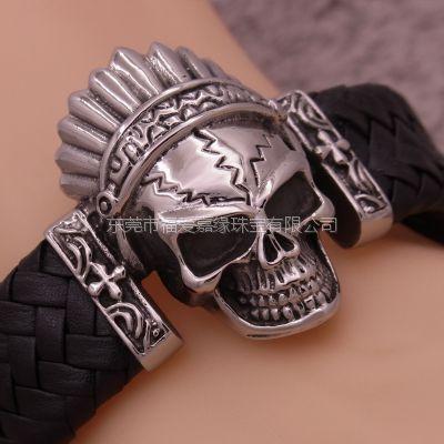 不锈钢钛钢族长骷髅头真皮编织手环欧美夸张手镯饰品批发生产厂家来图来样批发设计