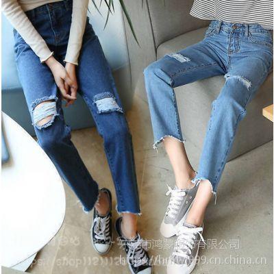 女装牛仔裤韩版时尚厂家直销外贸库存服装便宜批发货源