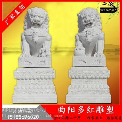 石狮子一对汉白玉石雕狮子看门镇宅狮子仿天安门大理石小头石狮子多红雕塑