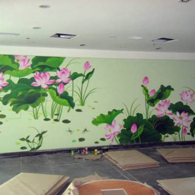 南昌彩绘彩画背景墙及电视墙!