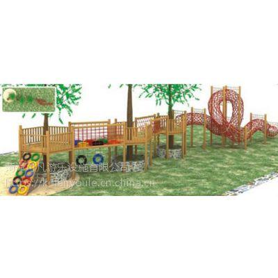 直销幼儿园户外攀爬架儿童木质进口木制爬网组合体能秋千组合
